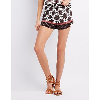 Boho Print Drawstring Shorts