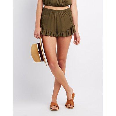 Smocked Ruffle-Trim Shorts