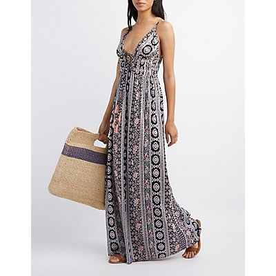 Printed Tie-Front Maxi Dress