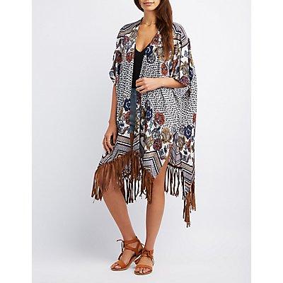 Printed Fringe Kimono