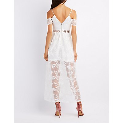 Embroidered Cold Shoulder Maxi Dress