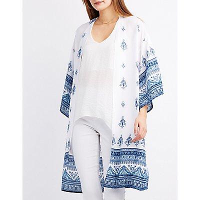 Border Print Duster Kimono