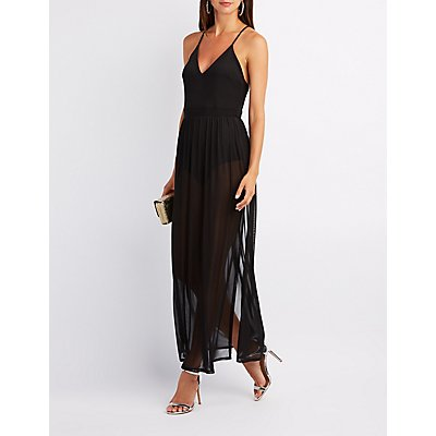 Caged Mesh Overlay Maxi Dress
