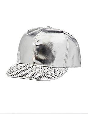 Metallic Faux Leather Rhinestone Hat
