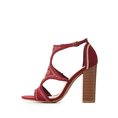 Bamboo Embroidered Cut-Out Sandals