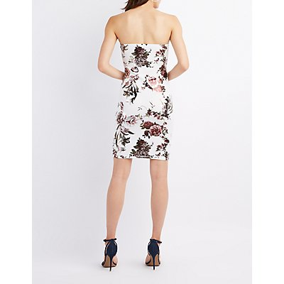 Metallic Floral Notched Bodycon Dress