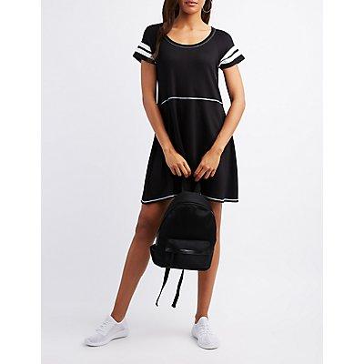 Varsity Stripe Sccop Neck Dress