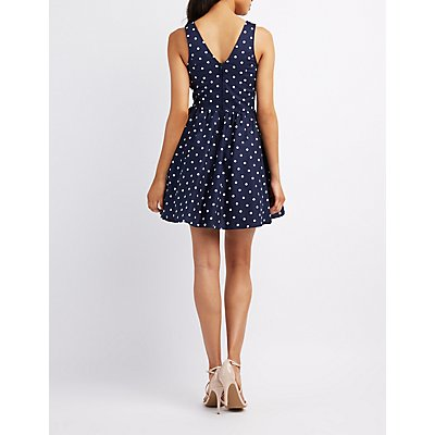 Polka Dot Cut-Out Skater Dress
