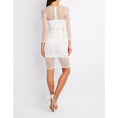 Sequin Embroidered Mesh Bodycon Dress