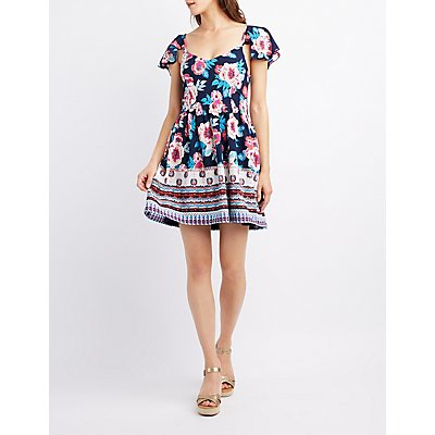 Floral Flutter Sleeve Skater Dress