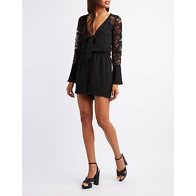Lace Combo Bell Sleeve Romper
