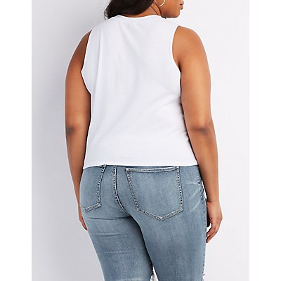 Plus Size Graphic Lace-Up Muscle Tee
