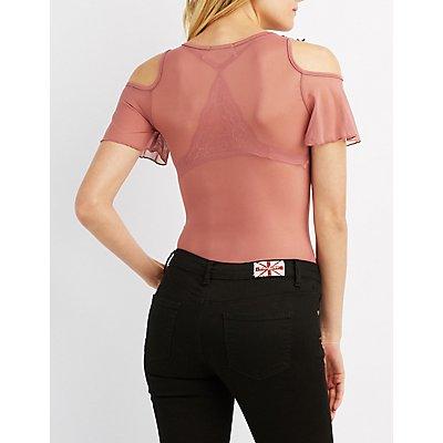 Embroidered Cold Shoulder Mesh Bodysuit