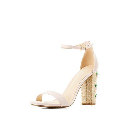 Embroidered Straw Heel Sandals