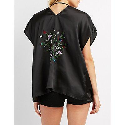 Embroidered Open-Back Kimono