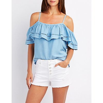 Chambray Ruffle-Trim Cold Shoulder Top