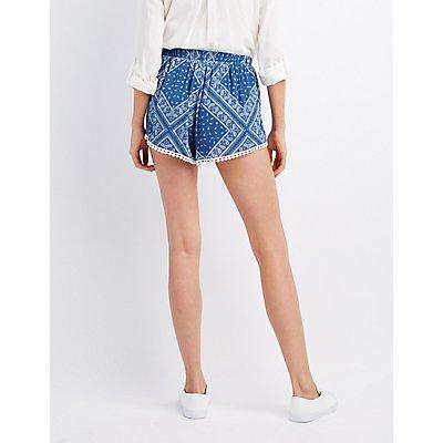 Paisley Crochet-Trim Shorts