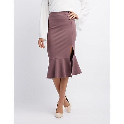 Flounce Hem Pencil Skirt