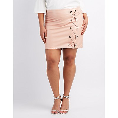 Plus Size Faux Leather Lace-Up Skirt