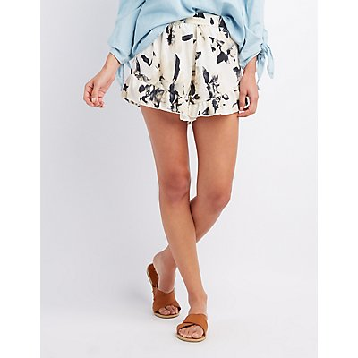 Floral Ruffle-Trim Shorts