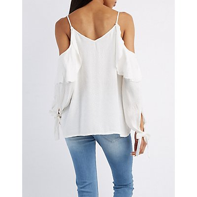 Textured Cold Shoulder Top
