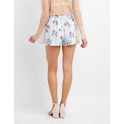 Floral  Tie-Front Wrap Shorts