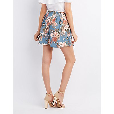 Floral Pleated Skater Skirt
