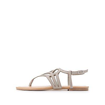 Laser Cut T-Strap Sandals