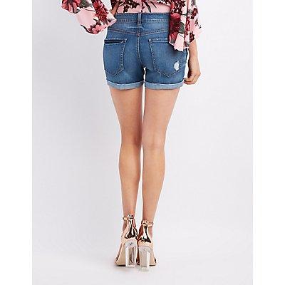 Refuge Girlfriend Distressed Denim Shorts