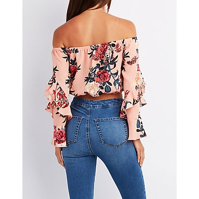 Floral Ruffle Off-The-Shoulder Crop Top