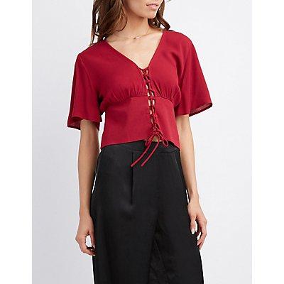 Kimono Sleeve Lace-Up Top