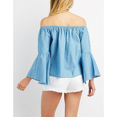 Chambray Off-The-Shoulder Bell Sleeve Top