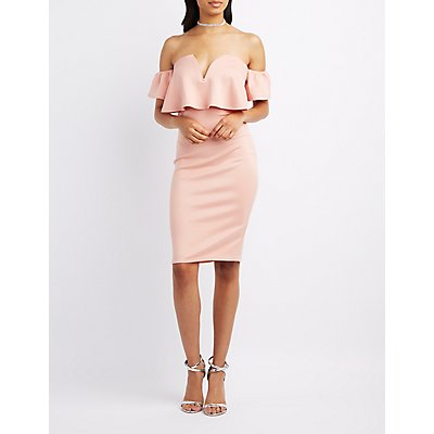 Notched Off-The-Shoulder Ruffle Dress