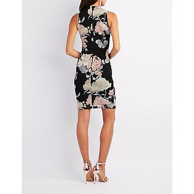 Floral Mock Neck Mesh Bodycon Dress