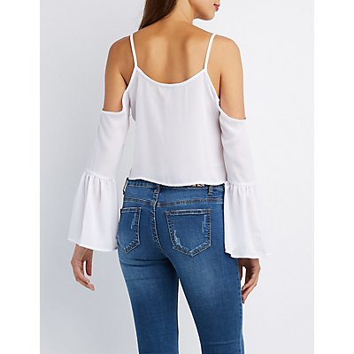 Lace-Up Cold Shoulder Crop Top