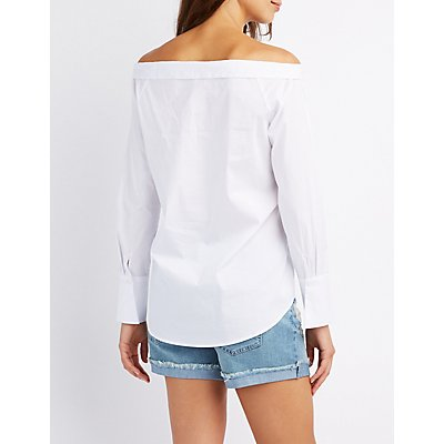 Off-The-Shoulder Button-Up Top