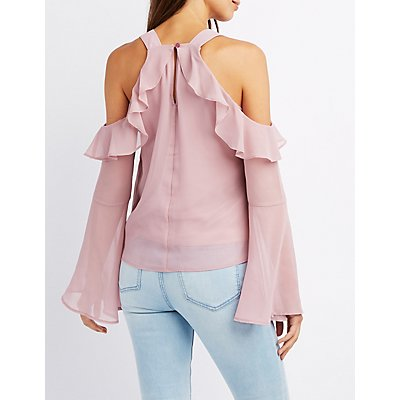 Ruffle Cold Shoulder Bell Sleeve Top