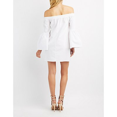 Off-The-Shoulder Bell Sleeve Dress