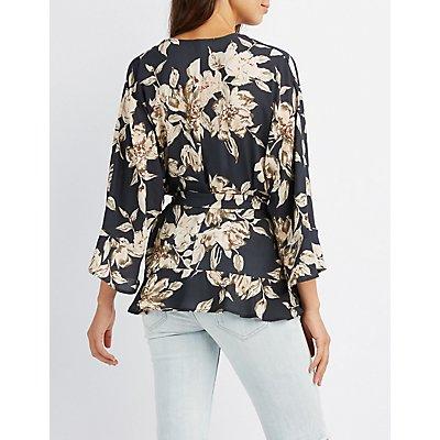 Floral Ruffle-Trim Belted Kimono