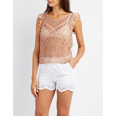 Crochet Ruffle-Trim Top