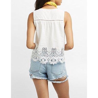 Crochet-Trim Button-Up Tank Top