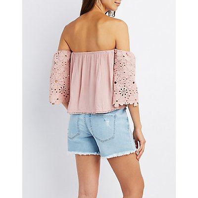 Crochet Sleeve Off-The-Shoulder Top