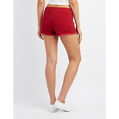 Refuge Mid-Rise Shortie Denim Cut-Off Shorts
