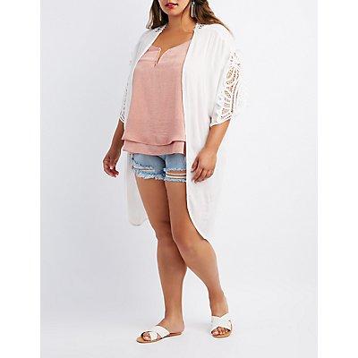 Plus Size Crochet-Trim Kimono