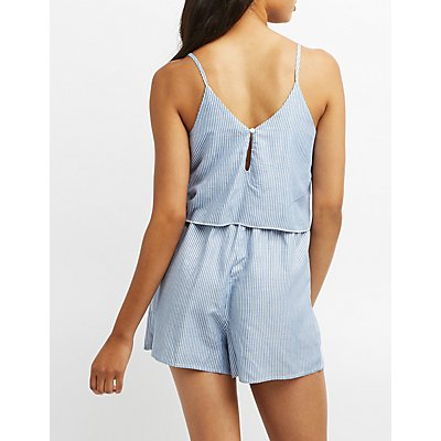 Striped Seersucker Crochet-Trim Romper