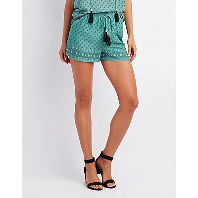 Border Print Tassel-Tie Shorts