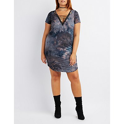 Plus Size Tie Dye Lace-Up Bodycon Dress