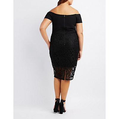 Plus Size Off-The-Shoulder Notched Bodycon Dress