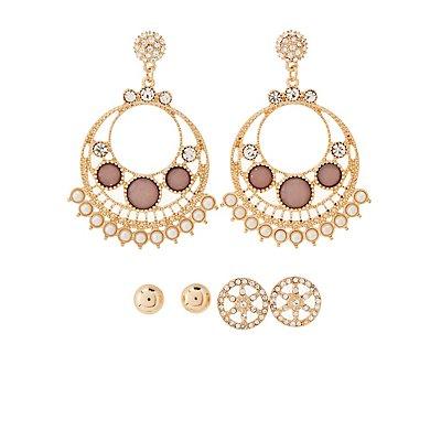 Embellished Stud & Chandelier Earrings - 3 Pack