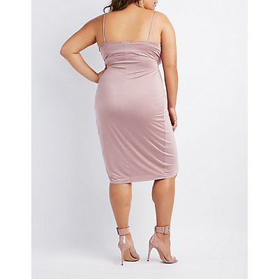 Plus Size Surplice Tulip Bodycon Dress